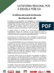 Comunicado 14-N Plataforma Regional Escuela Pública