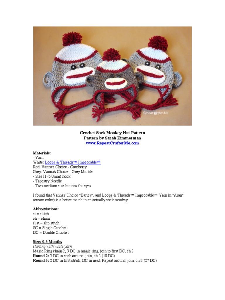 Crochet Sock Monkey Hat Pattern | Crochet | Braid