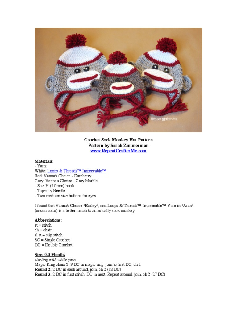 Crochet Sock Monkey Hat Pattern Crochet Braid