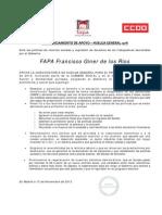 adhesión FAPA apoyo HUELGA GENERAL 14 NOVIEM de 2012