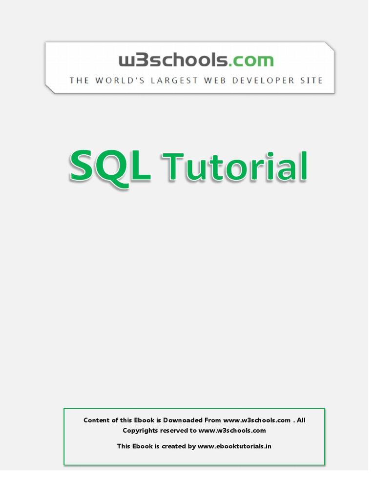 W3schools sql tutorial.