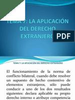 TEMA 7. La Aplicación del Derecho Extranjero