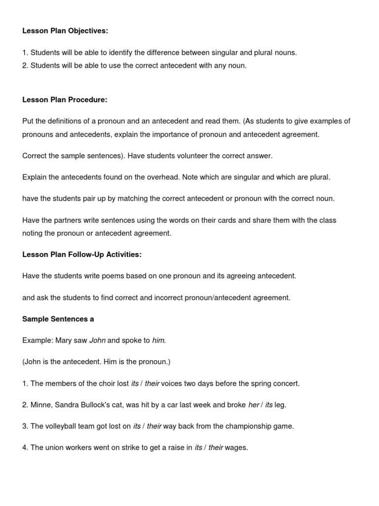 Lesson Plan Objectives Grammatical Number – Pronoun Antecedent Agreement Worksheet with Answers