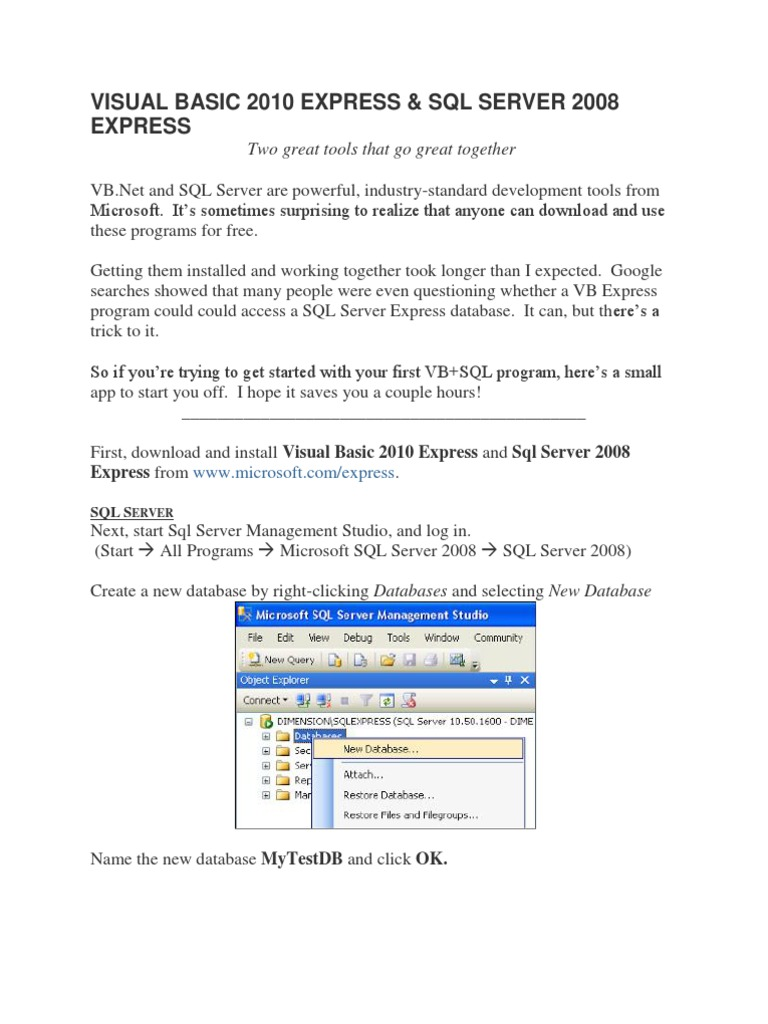 Visual Basic 2010 Express | Microsoft Sql Server | Databases