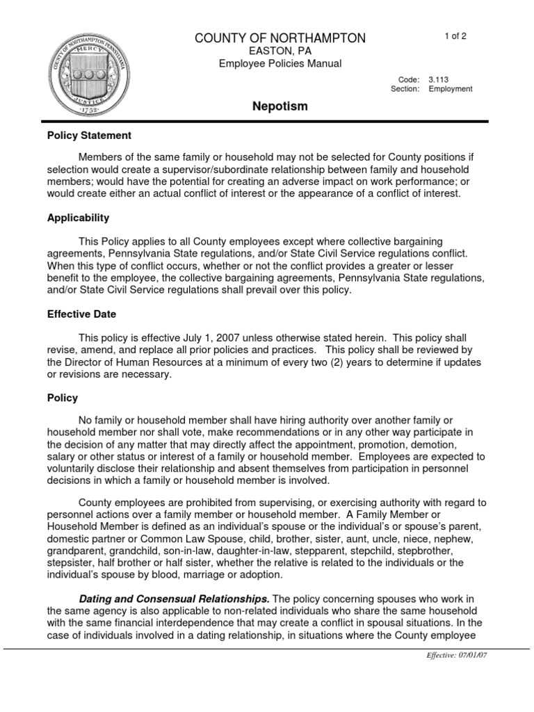 Supervisor / subordinate dating policy