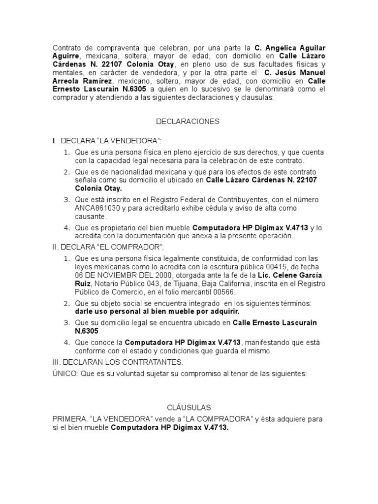 Contrato de compraventa bien mueble for Compra de muebles por internet