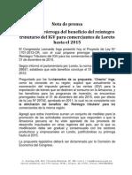 Presenta Proyecto Para Prorrogar El Reintegro Del IGV Hasta El 2015