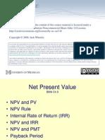 HMP607 F08 Lecture05 NetPresentValue