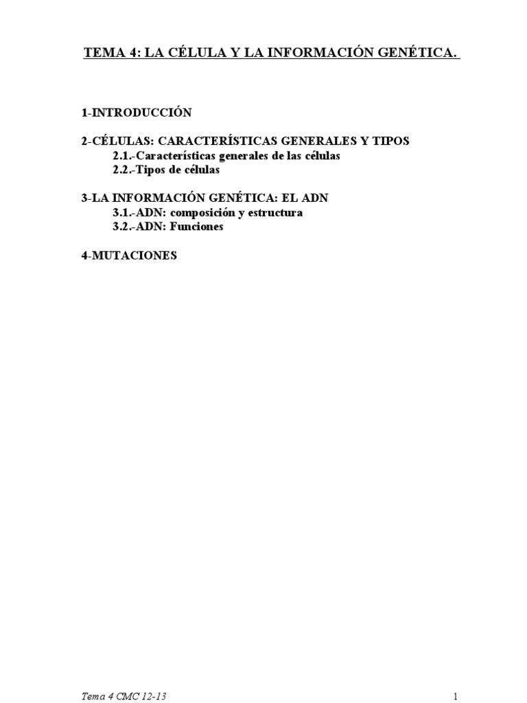 Tema 4 La Célula Y La Información Genética 12 13