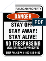 BNSF No Trespassing Sign