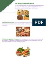 Clases de Nutrientes en Los Alimentos