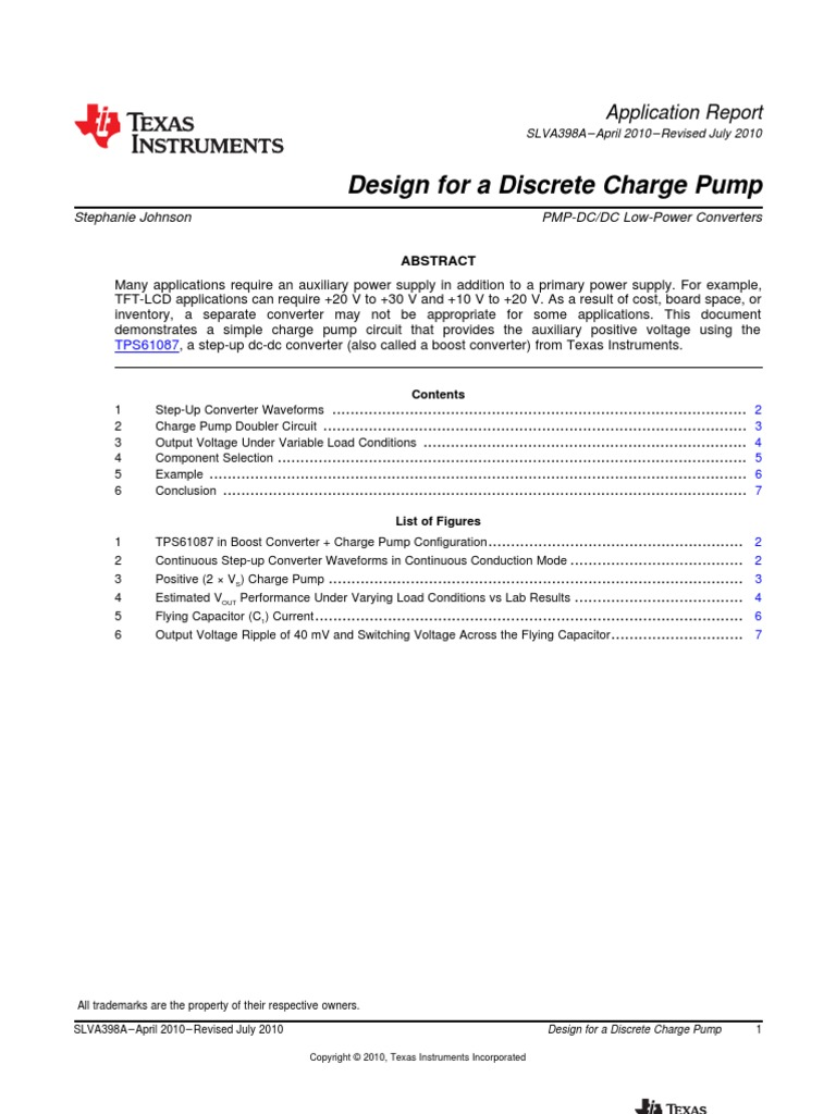 An Design For A Discrete Charge Pump Ti Slva398a 07 10 Boost Converter Circuit Capacitor Computer Engineering