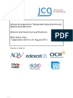 JCQ Access Arrangements Guidance 2012 - 2013
