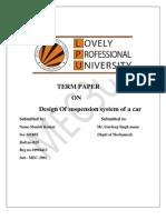design of suspension system of car