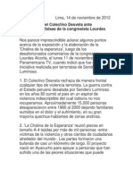 Precisiones Del Colectivo Desvela Ante Afirmaciones Falsas de La Congresista Lourdes Alcorta