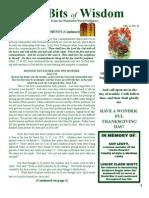 Tidbits of Wisdom November 2012 Newsletter