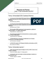 Resumen prensa CEU-UCH 15-11-2012