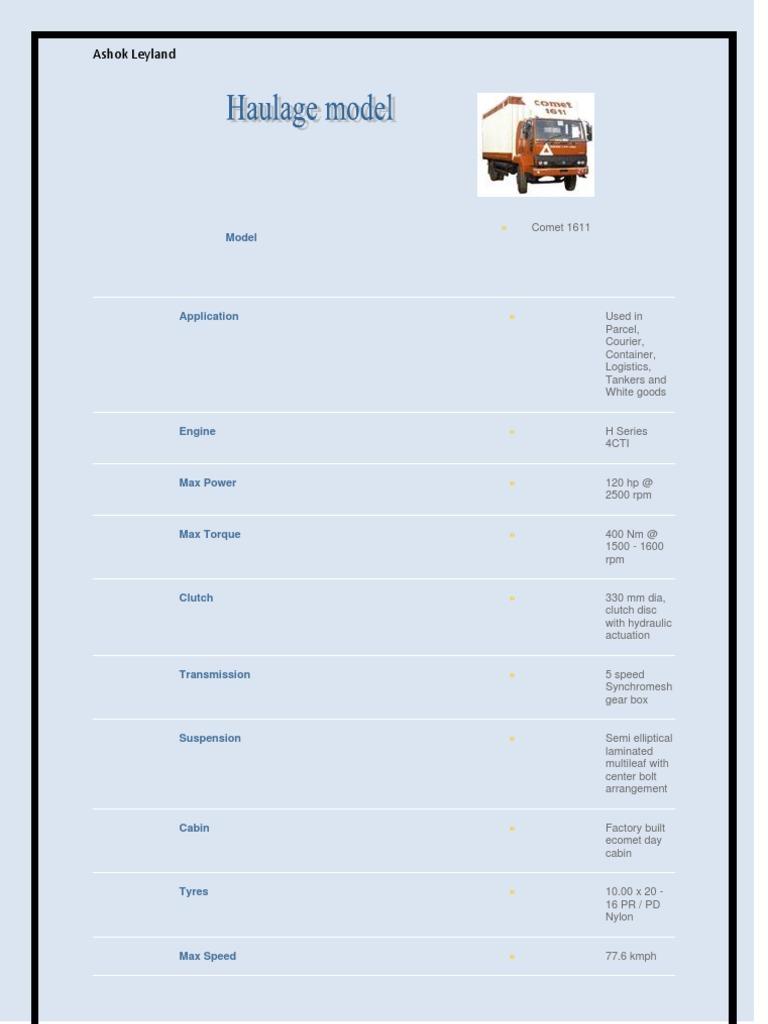 Ashok Leyland   Manual Transmission   Semi Trailer Truck