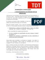 ComunicadoTDT Emissor de Arronches