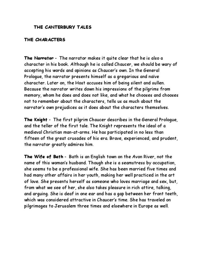 Essay on the canterbury tales characters best course work writing service ca