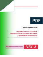 decreto supremo  Nº 109 reglamento para la calificacion y evaluacion de accidentes del trabajo y enfermedades profesionales