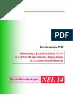decreto supremo Nº 47 reglamento para la aplicacion de articulos 15º y 16º de la ley 16,744 ,sobre excenciones ,rebajas y recargos de la cotizacion adicional diferenciada
