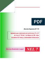 decreto supremo Nº 173 reglamento para la aplicacion de los articulos 15º y 16º de la ley 16.744