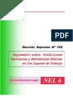 decreto supremo Nº 745  reglamento sobre condiciones sanitarias y ambientales bassicas en los lugares del trabajo
