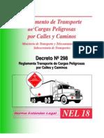 reglamento de transporte de cargas peligrosas por calles y caminos, ministerio de transportes y telecomunicaciones, subsecretaria de transportes,decreto supremo Nº 298