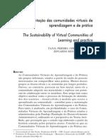 Sustentação das comunidades virtuais de apendizagem