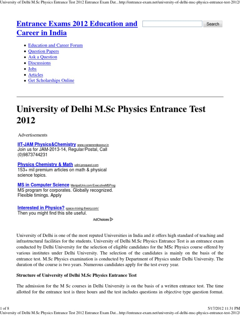 old qesrion paper of msc entrance pune uni pd f for physics