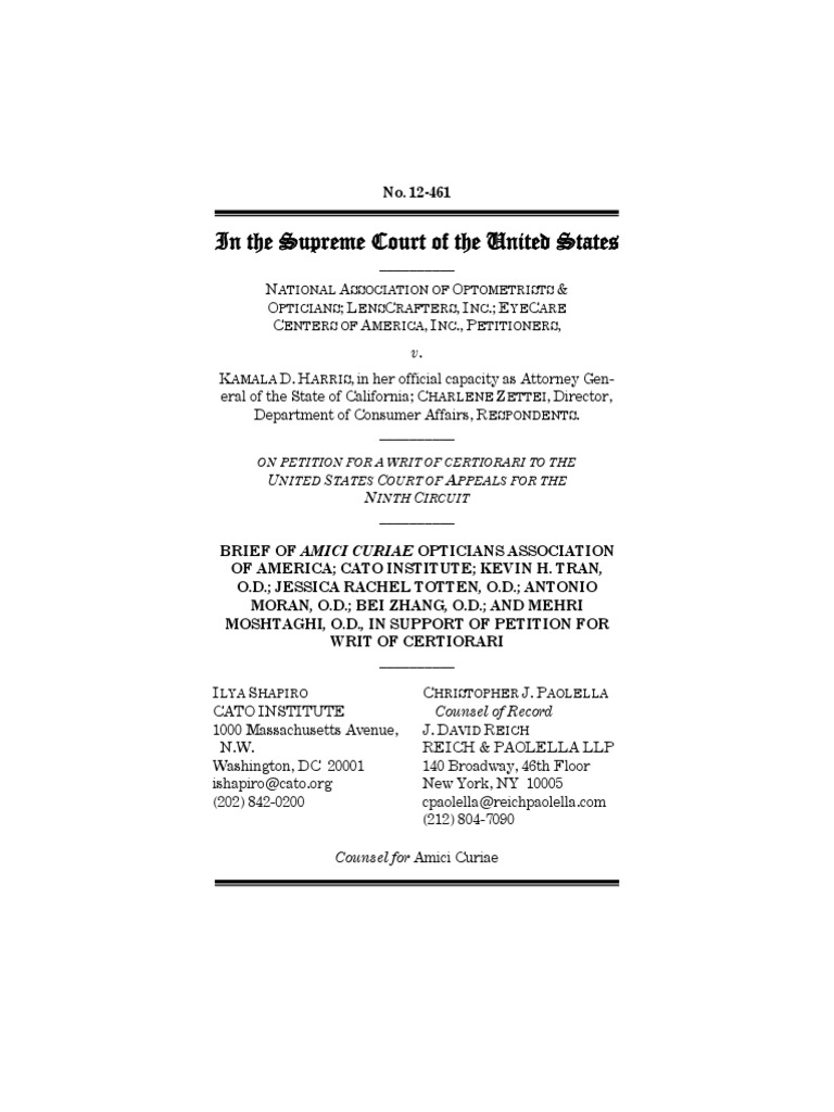 Natl Assoc Of Optometrists Opticians V Harris Cato Legal Briefs