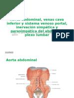 Aorta Abdominal, Venas Cava Inferior y Sistema Venoso portal, inervación simpática y Parasimpática del Abdomen, plexo Lumar