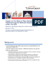 Impact on the State of New Hampshire of Implementing the Medicaid Expansion under the ACA