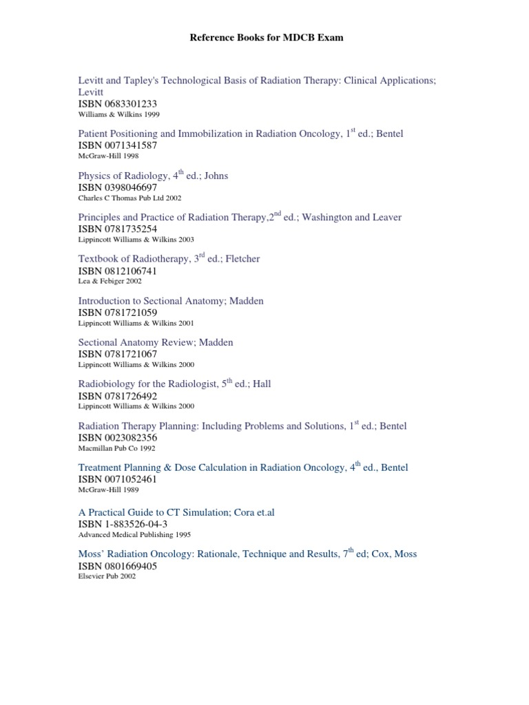 Reference Books For Mdcb Exam Review