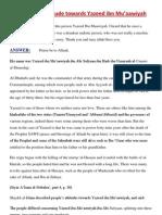 On Muslim Attitude Towards Yazeed Ibn Muaawiyah