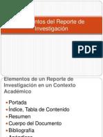 Elementos del Reporte de Investigación