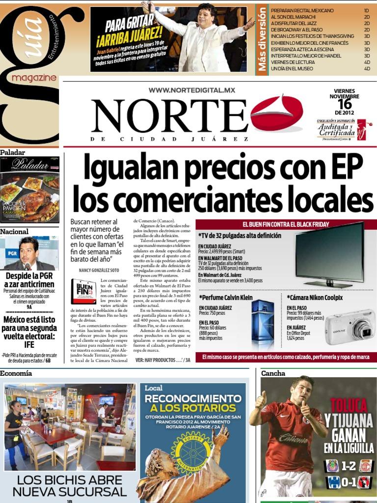 Periodico Norte de Ciudad Juárez 16 de Noviembre de 2012