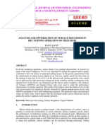 Analysis and Optimization of Surface Roughness in Dry Turning Operation of Mild Steel
