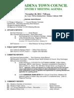 Altadena Town Council agenda Nov. 2012