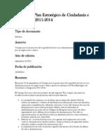 Informe al Plan Estratégico de Ciudadanía e Integración 2011
