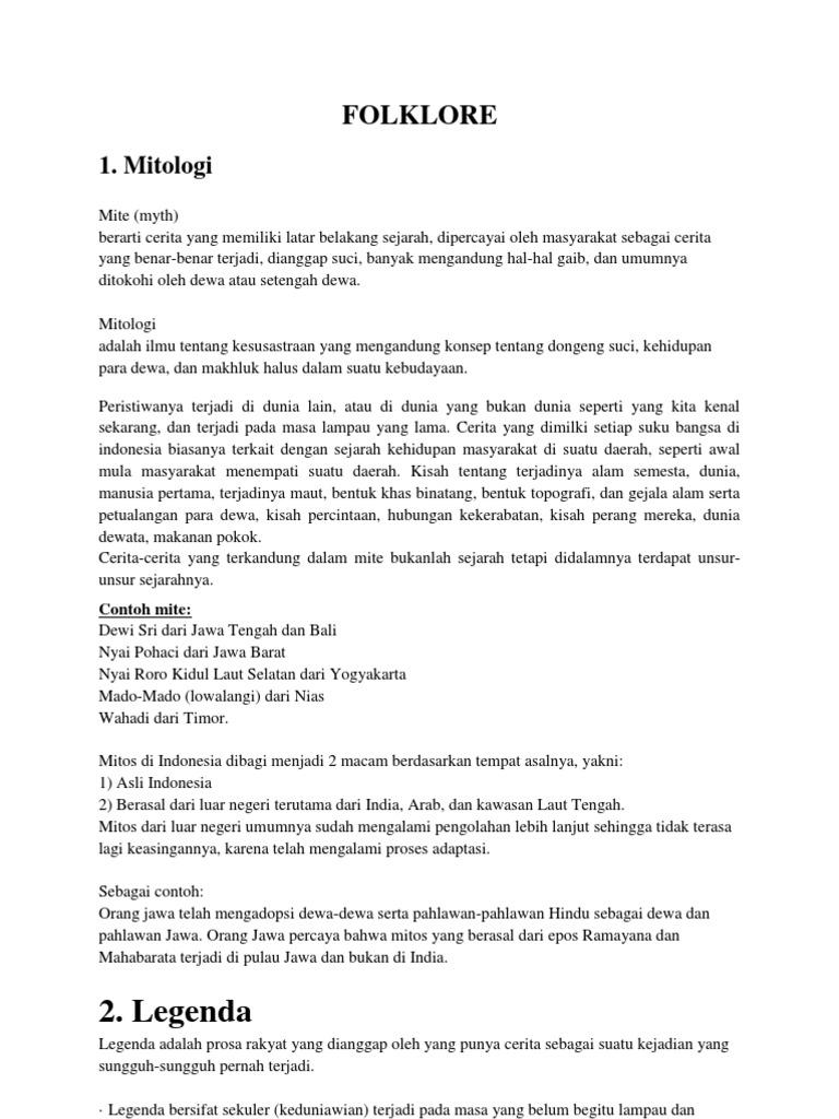 Mitologi Legenda Lagu Daerah