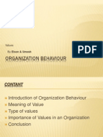 Organization Behaviour Values