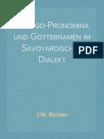 Die Ego-Pronomina und Götternamen im Savoyardischen Dialekt