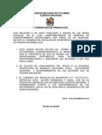 Comunicado de Prensa BR9  Batallón Magdalena
