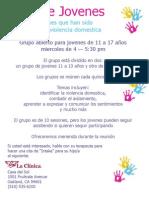Casa del Sol - Grupo de Jóvenes Afectados por la Violencia Doméstica, Volante para Padres,
