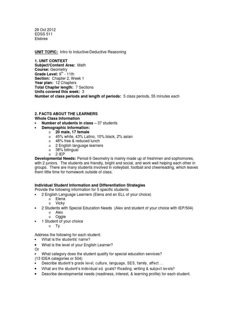 Unit Plan Edss 511 Elsbree Inductive Reasoning Rubric Academic