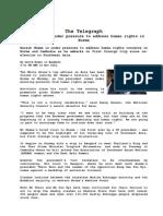 "Nov 16 Obama and the visit.pdf""The Telepraph"" Barack Obama Under Pressure to address Human Right In Burma."