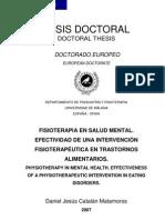 FISIOTERAPIA EN SALUD MENTAL.  EFECTIVIDAD DE UNA INTERVENCIÓN  FISIOTERAPÉUTICA EN TRASTORNOS  ALIMENTARIOS
