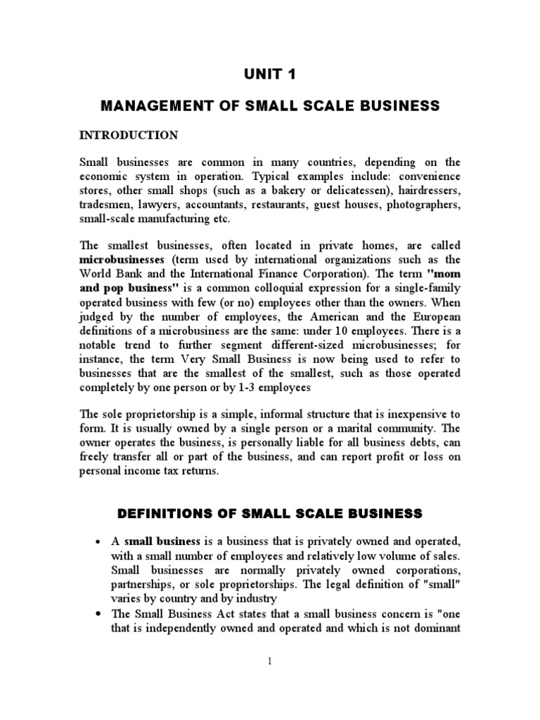 Small business: small scale business list.